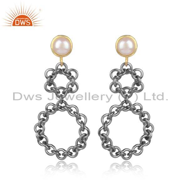 Handmade Pearls Set Round Shaped Brass Gold Ethnic Earrings