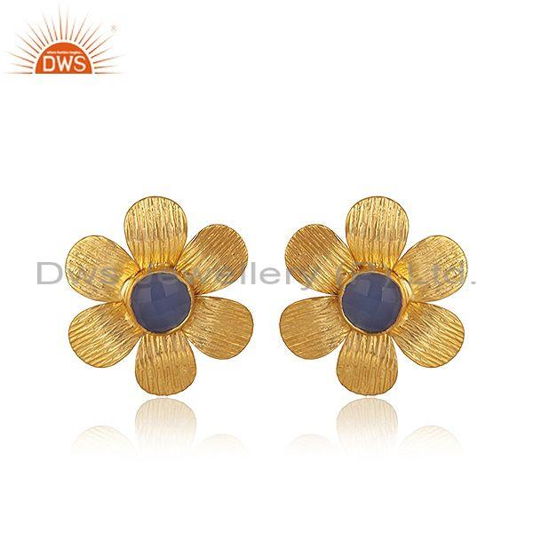 Hydro blue chalcedony brass gold statement floral earring