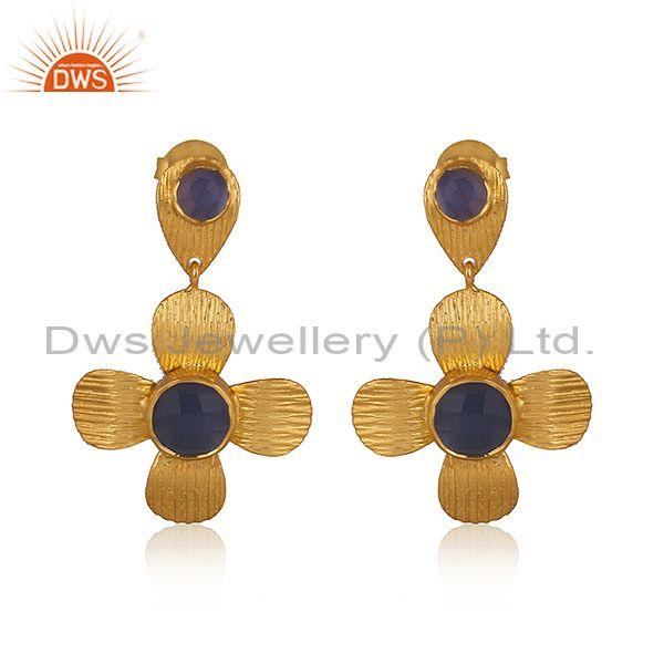 Hydro Blue Chalcedony Set Brass Gold Fancy Statement Earring