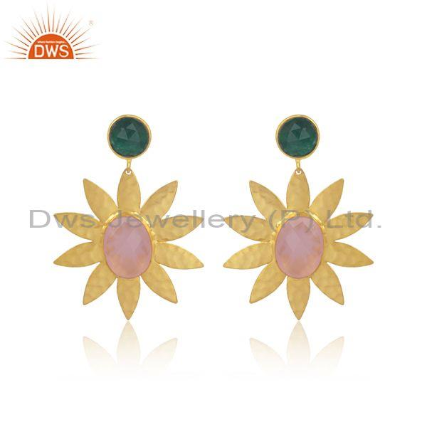 Hydro rose and green quartz brass gold floral earring