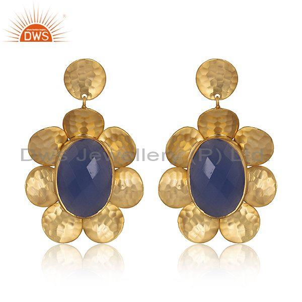 Briolette Cut Hydro Blue Chalcedony Set Brass Gold Earrings