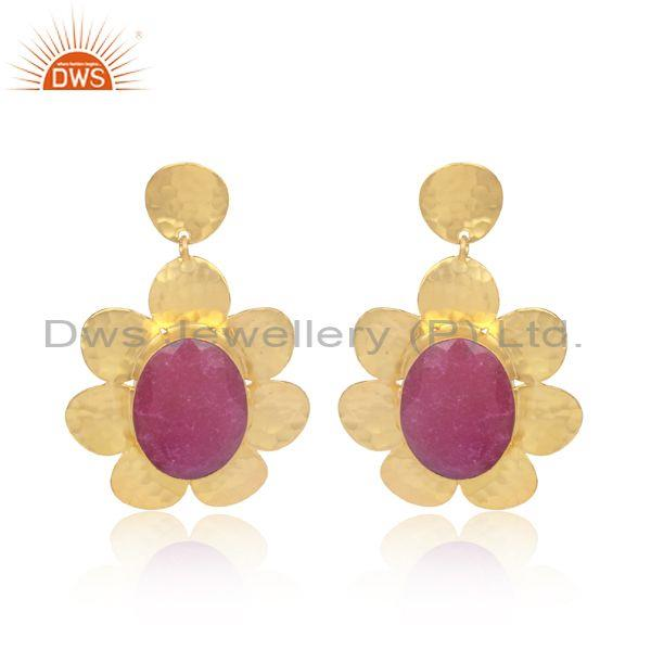 Oval Dyed Ruby Set Brass Gold Fancy Designer Floral Earrings