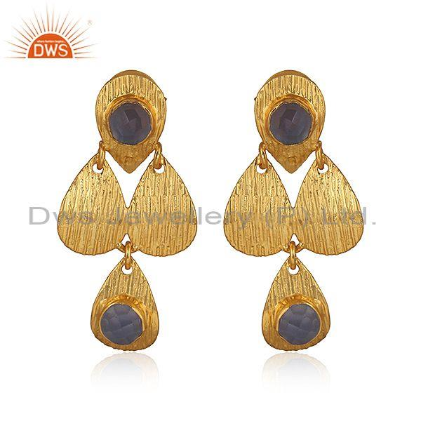 Hand Hammered Hydro Blue Chalcedony Brass Gold Drop Earrings