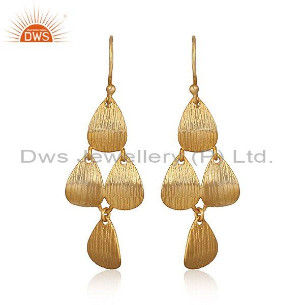 Hand Hammered Brass Gold Chandelier Statement Drop Earrings