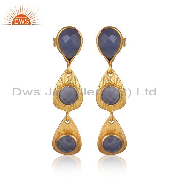 Hydro Blue Chalcedony Brass Gold Long Drop Designer Earrings