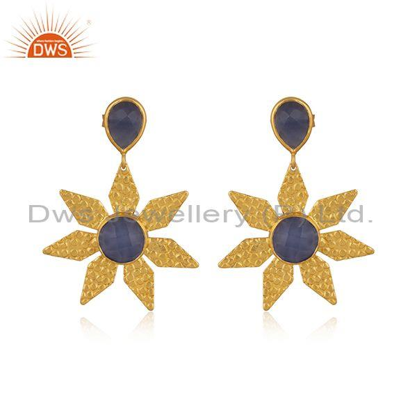 Hydro Blue Chalcedony Brass Gold Floral Statement Earrings
