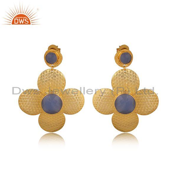 Hammered Hydro Blue Chalcedony Brass Gold Floral Earrings