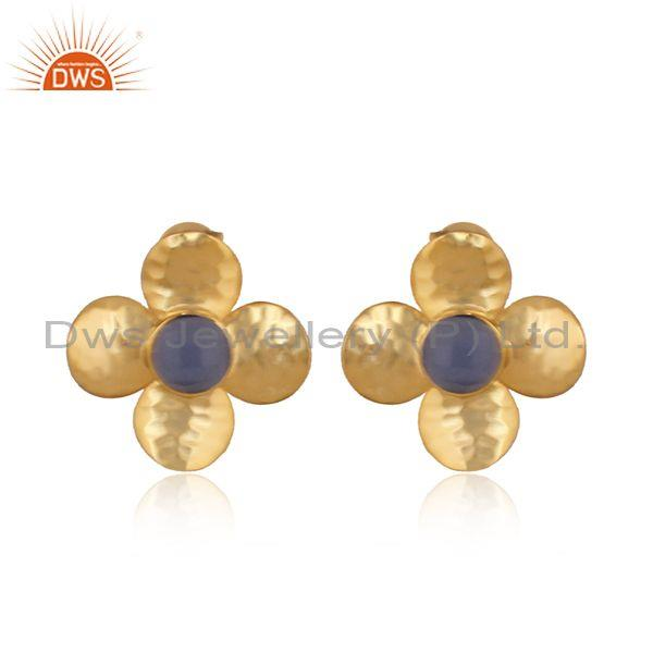 Hammered hydro blue chalcedony set brass gold floral tops
