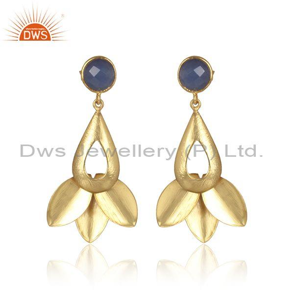 Handmade Hydro Blue Chalcedony Set Brass Gold Fancy Earrings