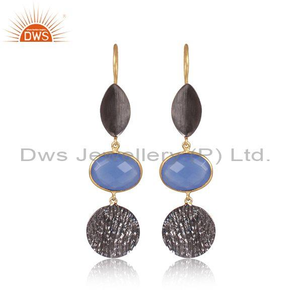 Hydro blue chalcedony set gold and black brass drop earrings