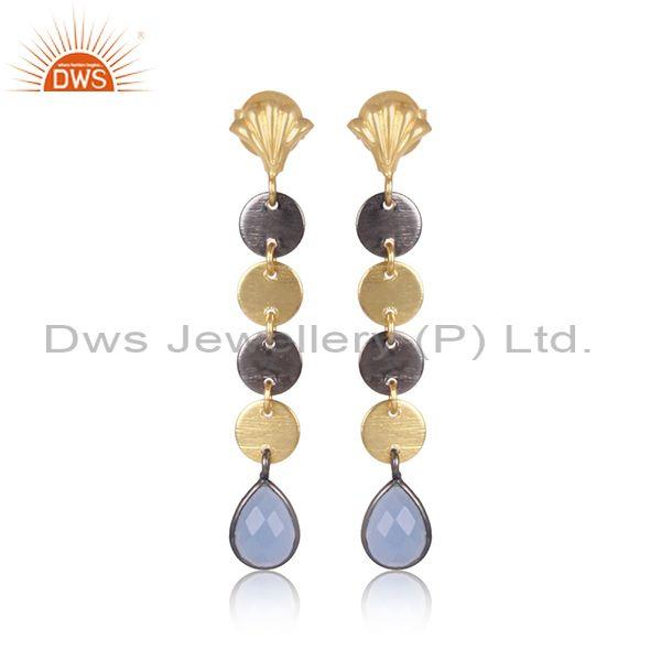 Hydro Blue Chalcedony Set Brass Gold Beaded Long Earrings