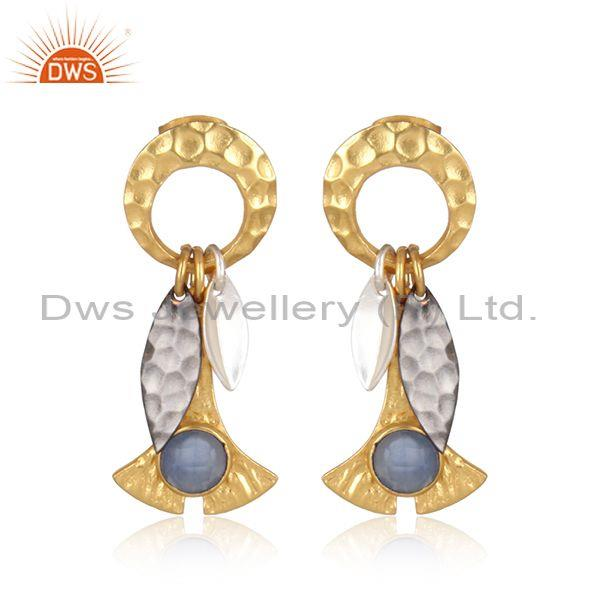 Gold, black, and white hydro blue chalcedony set earrings