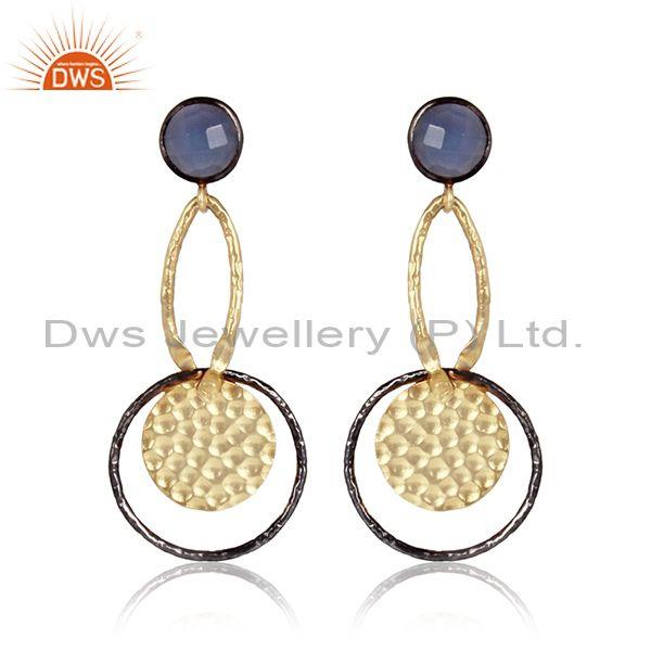 Hammered Hydro Blue Chalcedony Set Brass Gold Drop Earrings