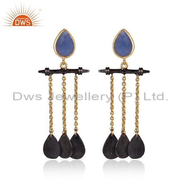 Hydro Blue Chalcedony Gold And Black Brass Chain Earrings