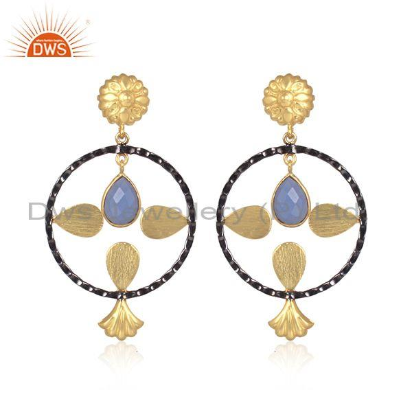 Hydro Blue Chalcedony Set Round Shape Brass Gold Earrings