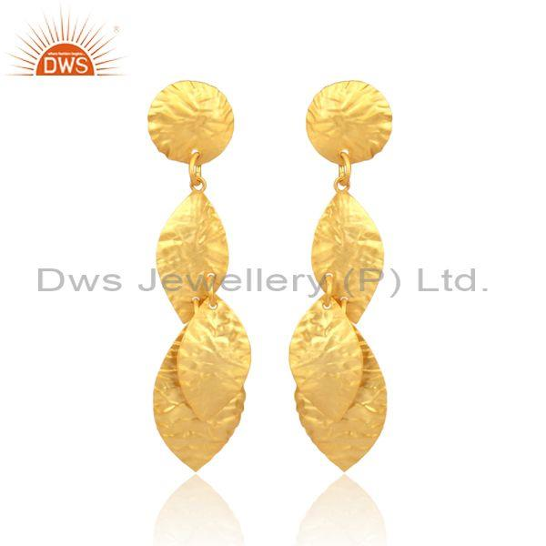 Handmade Petal Shaped Brass Gold Fancy Long Drop Earrings