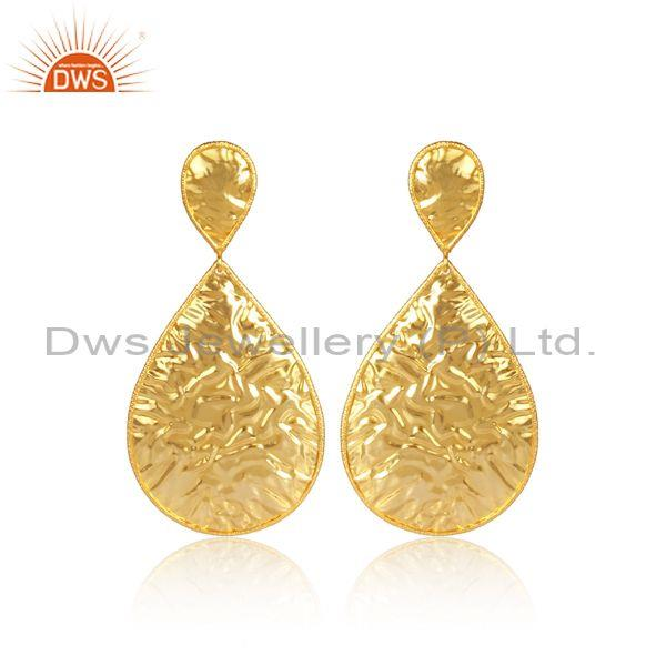 Handmade Brass Gold Textured Traditional Teardrop Earrings