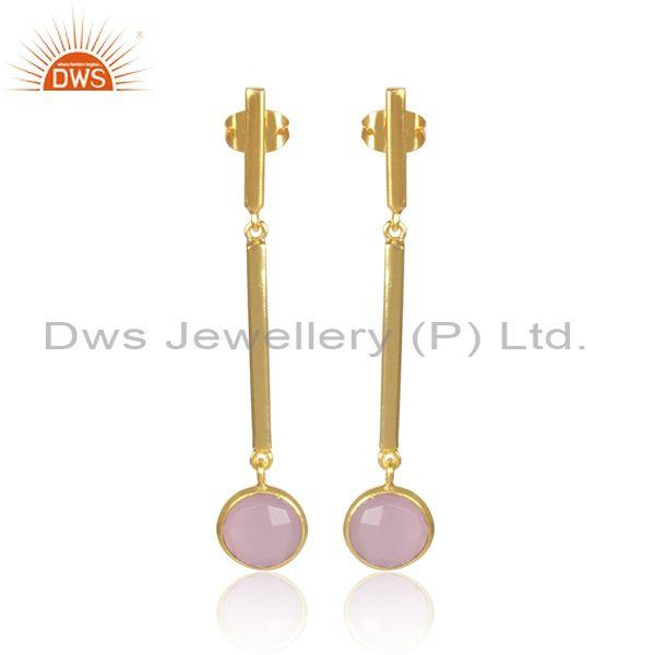 Round Glass Rose Set Classic Long Drop Brass Gold Earrings