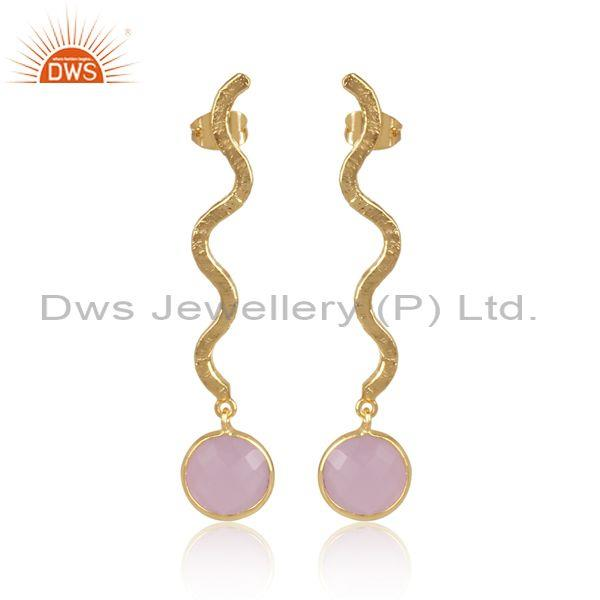 Round Glass Rose Set Twisted Long Drop Brass Gold Earrings