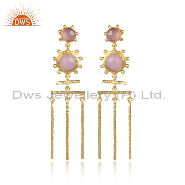Round Glass Rose Set Long Boho Classic Brass Gold Earrings
