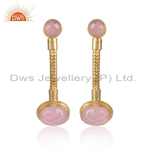 Round And Oval Cut Glass Rose Set Long Brass Gold Earrings