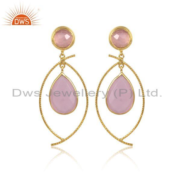 Round And Pear Cut Glass Rose Set Classy Brass Gold Earrings