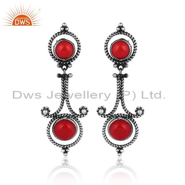 Coral set oxidized silver handmade ethnic design earrings