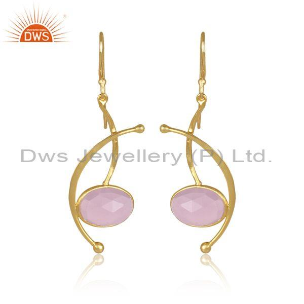 Oval Cut Glass Rose Set Designer Classic Brass Gold Earrings