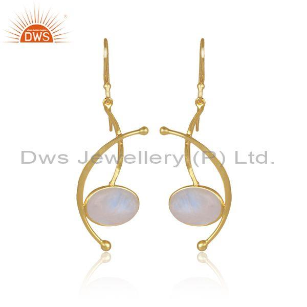Oval rainbow moon stone set gold on silver abstract earrings
