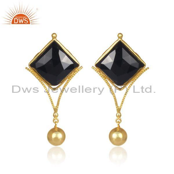Black Onyx Set Classic Handmade Brass Gold Designer Earrings