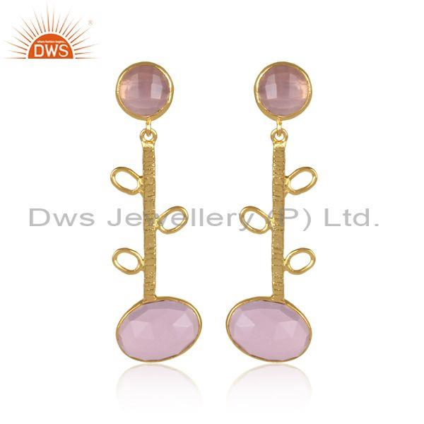 Round And Oval Glass Rose Set Fancy Long Brass Gold Earrings