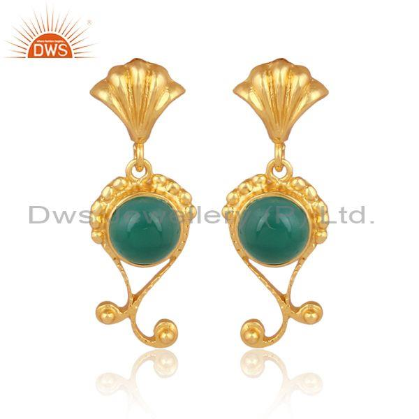 Green onyx set gold on silver traditional design earrings