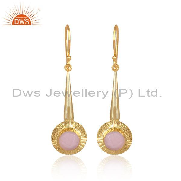 Round Cut Glass Rose Set Classic Brass Gold Earwire Earrings