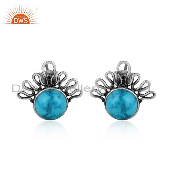 Turquoise set oxidized 925 silver classic handmade earrings