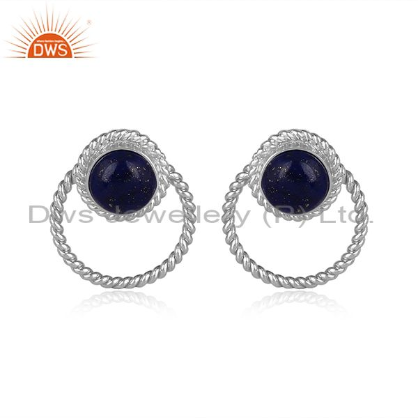 Lapis set fine 925 silver classic round statement earrings
