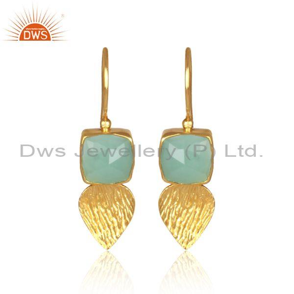 Square Cut Aqua Chalcedony Set Brass Gold Textured Earrings
