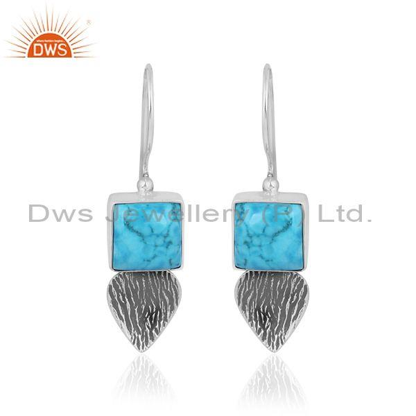 Turquoise oxidized sterling silver square and round earrings
