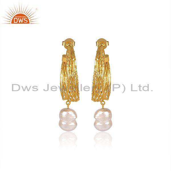 Pearls Set Brass Gold Designer Half Hoop Brass Gold Earrings
