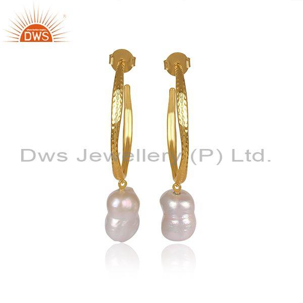 Pearls Set Round Hoop Brass Gold Ring Type Classy Earrings