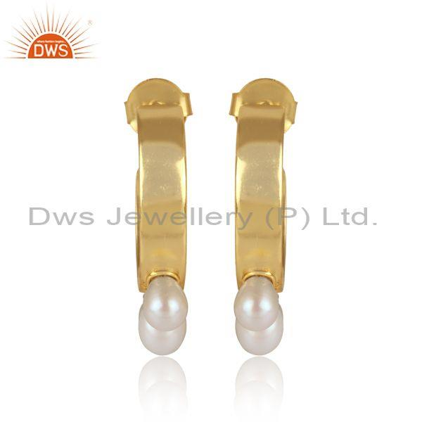 Handmade and handhammered pearls set brass gold earrings