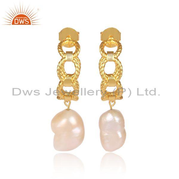 Handmade Pearls Studded Brass Gold Classic Hoop Earrings
