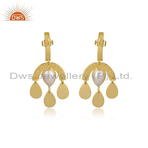 Pearl Set Classic Designer Brass Gold Chandbali Earrings