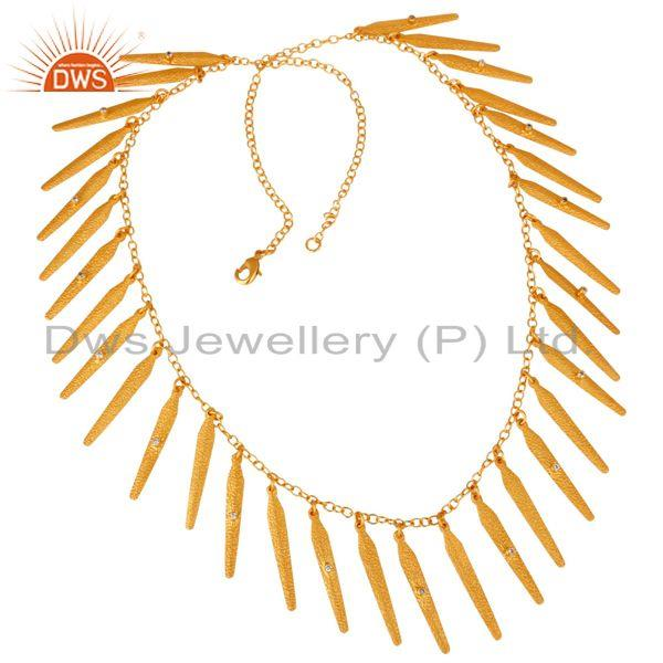18K Yellow Gold Plated Brass Matte Finish Spike Designs CZ Necklace