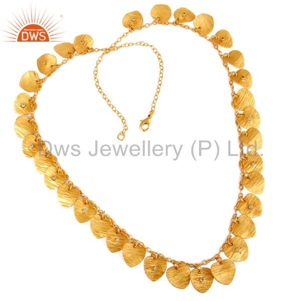 18K Gold Plated Hand Hammered Heart Shape Designer Necklace with Zircon
