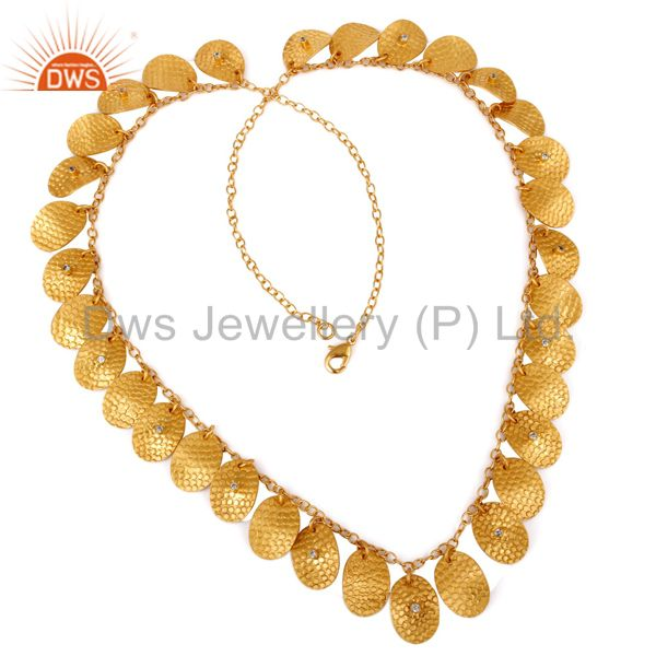 18K Gold Plated Hand Hammered Artisan Jewelry Necklace