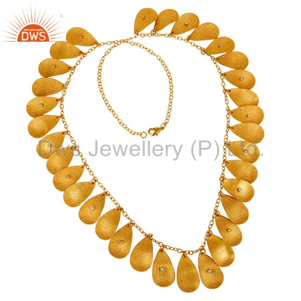 18K Gold Plated Handmade Textured Necklace With White Zircon Fashion Jewelry