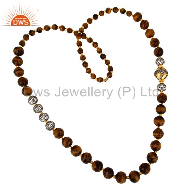 18K Yellow Gold Plated Tiger Eye Gemstone Beaded And CZ Spheres Necklace