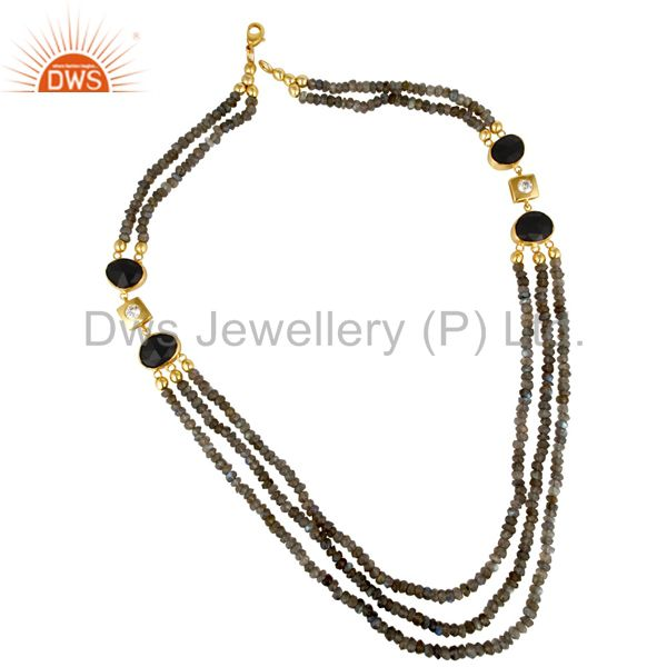 18K Yellow Gold Plated Sterling Silver Labradorite And Black Onyx Beads Necklace