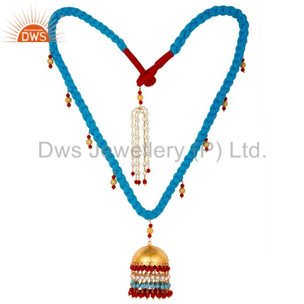 White Pearl Coral and Turquoise Indian Traditional 18K Gold Plated Necklace