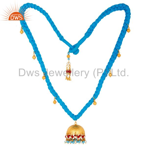 White Pearl Coral and Turquoise Indian Traditional Gold Plated Necklace
